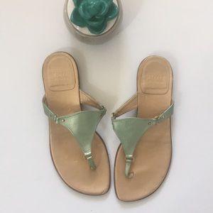 Stuart Weitzman | leather thong metallic sandal